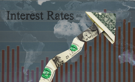 Photo for Upward pointing Interest Rates dollar arrow over world map and chart - Royalty Free Image