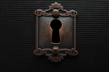 Photo for Keyhole on old fashioned door lock - Royalty Free Image