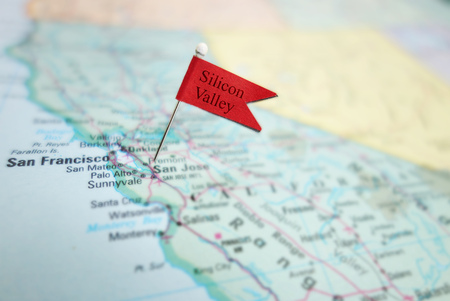 Silicon Valley flag pin in a map of the San Jose and San Francisco area