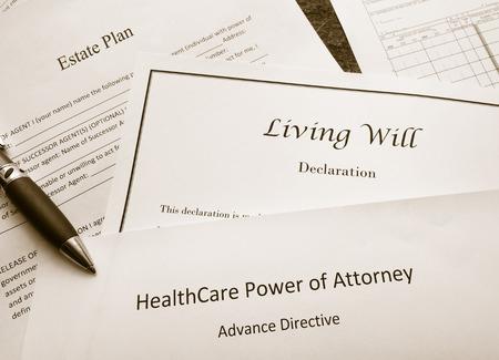 Photo pour Estate Plan, Living Will, and Healthcare Power of Attorney documents - image libre de droit
