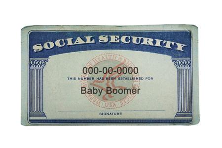 Foto de US Social Security card with Baby Boomer text, isolated on white - Imagen libre de derechos
