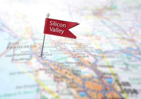 Photo pour Red Silicon Valley flag locator in a map of Northern California - image libre de droit