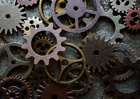 Photo for Claeup of assorted metal machine gears and components - Royalty Free Image