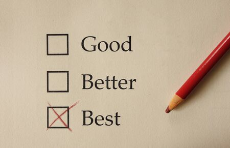 Photo pour Paper survey form with Good Better Best check boxes, marked with red pencil - image libre de droit