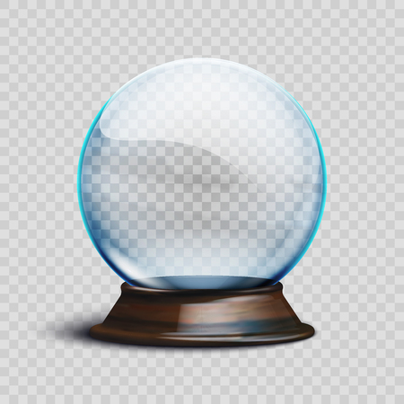 Stock vector illustration realistic empty christmas snow globe isolated on a transparent background
