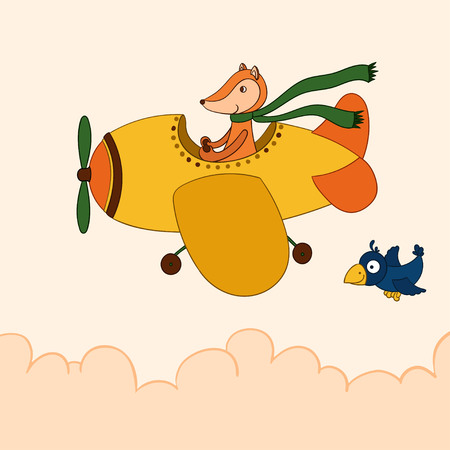 Awesome cute cartoon fox pilot flying on the airplane. Cloudy weather. Little cartoon crow.