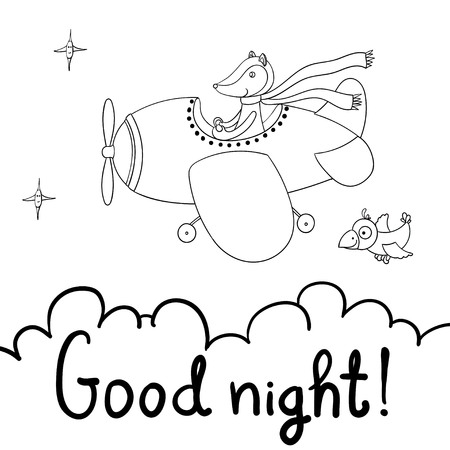Awesome cute cartoon fox pilot flying on the airplane. Good night! Little cartoon crow and smiling stars.  illustration, isolated on white background.