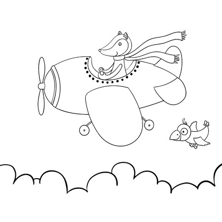 Cute cartoon fox flying on airplane. Awesome contour illustration isolated on white background. Cloudy weather. Little bird.