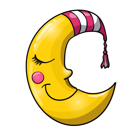 Photo pour Cartoon sleeping moon in striped nightcap isolated on white background. Good night! - image libre de droit