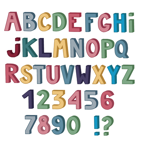 Set of cute colored letters and numbers with 3d effect isolated on white background. illustration.
