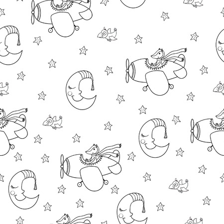 Awesome seamless patterm with cartoon crescent, stars and cute fox pilot on the aircraft. For textile, fabric, bedroom interiors: wallpaper, pillow, blanket, pajamas. Good for restful sleep.