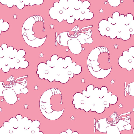 Awesome seamless patterm with cartoon sleeping clouds and crescent, cute fox pilot on the aircraft. For textile, fabric, bedroom interiors: wallpaper, pillow, blanket, pajamas. Good for restful sleep.