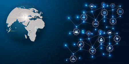 Ilustración de Communication network around Earth used for worldwide international connections for finance, banking, internet, IoT and cryptocurrencies, fintech concept, - Imagen libre de derechos