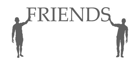 Illustration pour Friends silhouettes. Friends hold a sign eps10 - image libre de droit