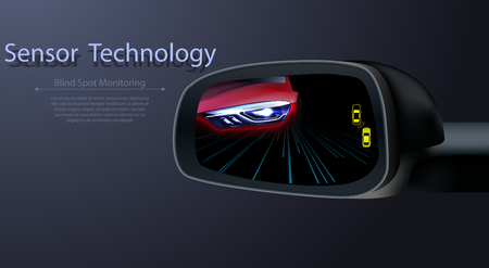 Illustration pour Blind Spot Monitoring Area Zone System Mirror Car Vehicle Side View Alert Warning Avoid Prevent Crash Detection Object Ultrasonic Radar Camera Sensor Technology Automotive - image libre de droit