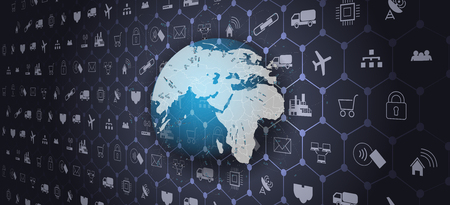 Ilustración de Global world telecommunication network connected around planet Earth.Internet of things (IoT) - Imagen libre de derechos