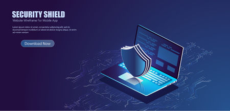 Illustration pour Security Data Protection Information Lock digital technology isometric - image libre de droit