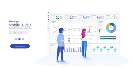 Illustration for People work in a team and interact with graphs. Business, workflow management. Online statistics and data Analytics. Website template for deep learning concept. Vector - Royalty Free Image