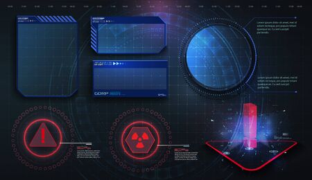 Hud Ui Gui Futuristic User Interface Screen Elements Set High Tech Screen For Video Game Sci Fi Concept Design Callouts Titles Modern Banners Frames Of Lower Third Red Vector Illustration Royalty Free Vector Graphics