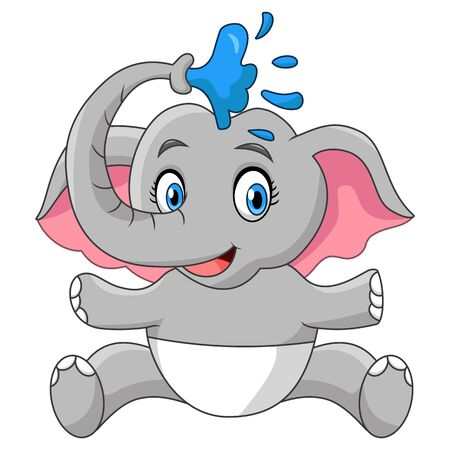 Illustration for Happy Baby Elephant Take A Bath Shower - Royalty Free Image