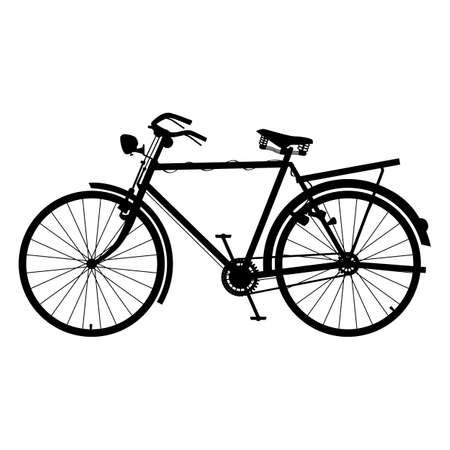 Illustration pour Classic Bicycle Icon Silhouette Detailed Bike Black Color - image libre de droit