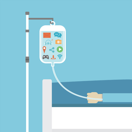 social addiction, patient on sick bed healed by social network, concept, flat style