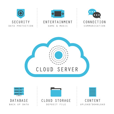 isolated cloud computing infographic, cloud server icon