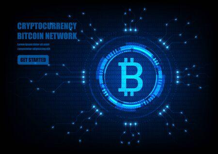 Illustration pour Bitcoin symbol with futuristic HUD interface, digital currency - image libre de droit