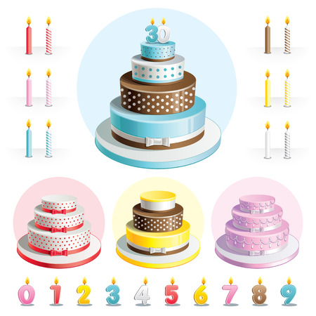 Set cakes for Anniversary with candles in the shape of numbers