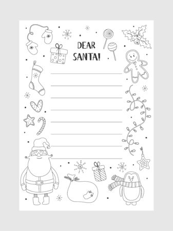 Illustration pour Cartoon Christmas wish christmas items. Coloring page. A letter to Santa Claus template. Christmas background with a place for Christmas gifts for Santa wish list. Vector illustration. - image libre de droit