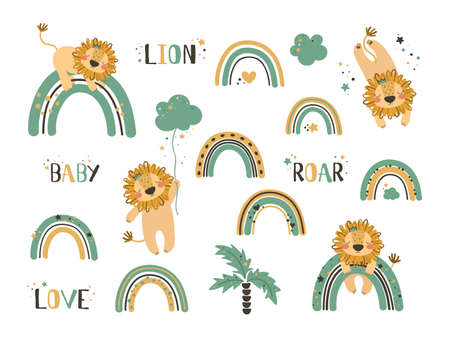 Illustration for Set of cute lion clip art. Use this clipart to create baby shower invites, nursery art, birthday decor, greeting cards, children's clothing. Vector illustration. - Royalty Free Image