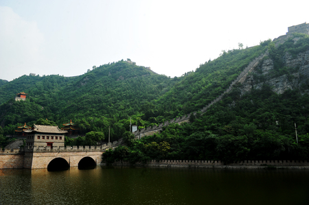 The greenery of the the Great Wall in summer