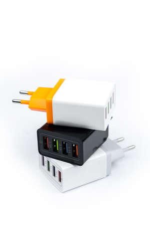 Photo for Adapter charger with multiport USB ports isolated on white background - Royalty Free Image