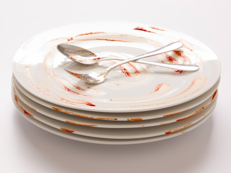 close up of a stack of dirty plates