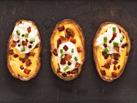 close up of rustic baked potato skin