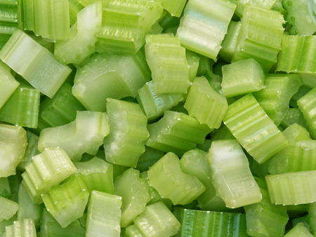 close up of diced cut celery food background