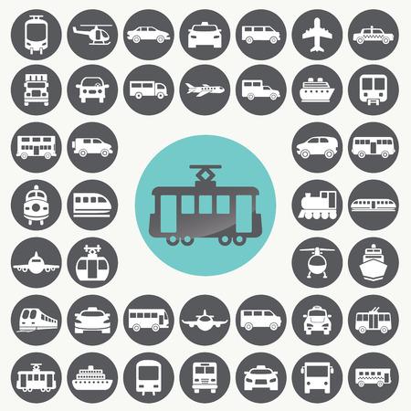 Illustration pour Public transportation icons set.  - image libre de droit
