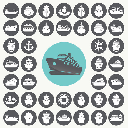 Boat and ship icons set.