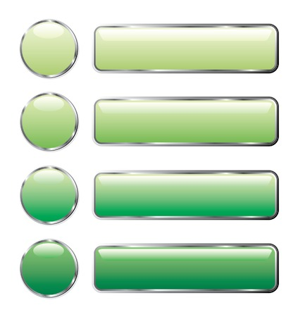vector illustration of green web buttons