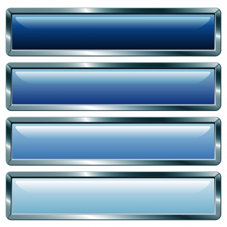 vector buttons with metallic frame, blue collection