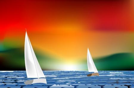 Illustration pour  sunset sailing like watercolor painting - image libre de droit