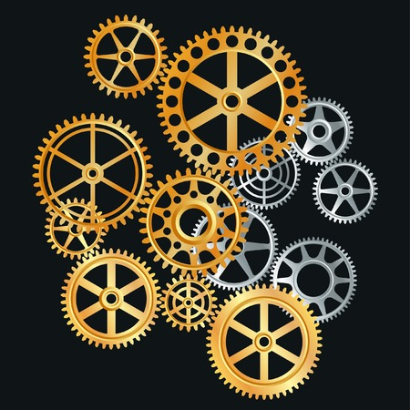gears in gold and silver