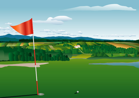 vector golf terrain with agricultural landscape
