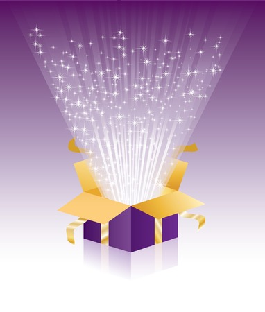 Illustration pour   illustration with violet magic gift box  - image libre de droit