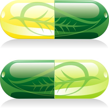 two vector natural pills with leaf