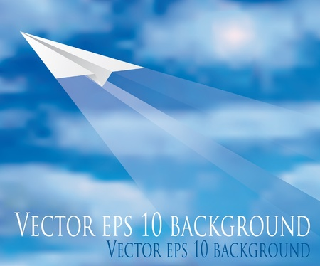 Illustration for vector illustration of the flying paper plane  - Royalty Free Image