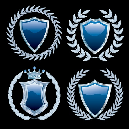 vector set of the blue shields with silver