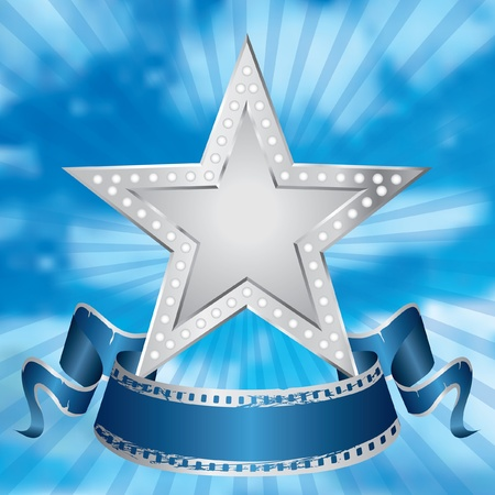 Illustration for vector metal silver movie star on the cloudy sky - Royalty Free Image