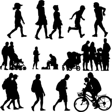 Illustration pour children and adults in action - image libre de droit
