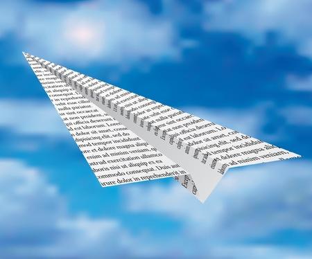 newspaper plane on cloudy sky
